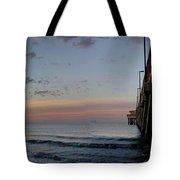 Pier Panorama At Sunrise  Tote Bag by Michael Thomas