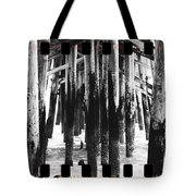 Pier Pilings Black And White Tote Bag