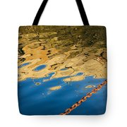 Pier Reflection And Rusty Chain Tote Bag
