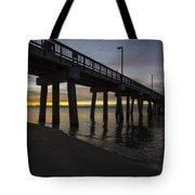 Pier Sunrise On A Cold January Morning Tote Bag