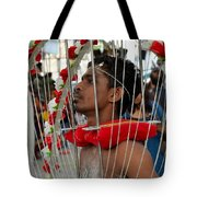 Pierced Hindu Devotee Wears Kavadi At Thaipusam Singapore Tote Bag