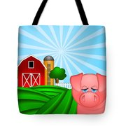 Pig On Green Pasture With Red Barn With Grain Silo  Tote Bag by JPLDesigns