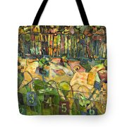 Pig Racing In Belturbet Ireland Tote Bag by Jen Norton