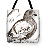 Pigeon I Sumi-e Style Tote Bag