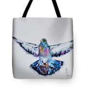 Pigeon In Flight Tote Bag