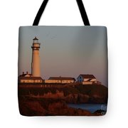 Pigeon Point Lighthouse At Sunset Tote Bag