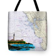 Pigeon Point Lighthouse On Noaa Nautical Chart Tote Bag