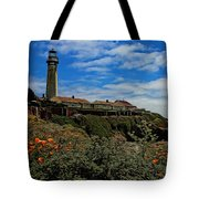 Pigeon Point Lighthouse Painted Tote Bag