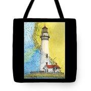 Pigeon Pt Lighthouse Ca Nautical Chart Map Art Tote Bag