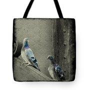 Pigeons In Damask Tote Bag
