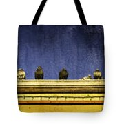 Pigeons On Yellow Roof Tote Bag