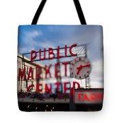 Pike Place Public Market Neon Sign Tote Bag
