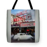 Pike Place Publice Market Neon Sign And Limo Tote Bag