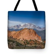 Pikes Peak Behind Garden Of The Gods Tote Bag by Ernie Echols