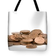 Pile Of American Pennies On White Background Tote Bag