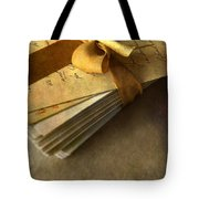 Pile Of Letters With Golden Ribbon Tote Bag