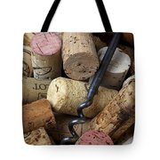 Pile Of Wine Corks With Corkscrew Tote Bag by Garry Gay