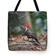 Pileated Woodpecker On Log Tote Bag