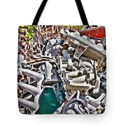 Piles Of Engines - Automotive Recycling Tote Bag by Crystal Harman