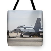 Pilots Wait To Board Their Fa-18b Tote Bag