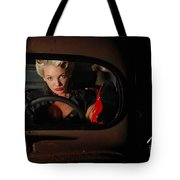 Pin Up Girl In A Classic Rat Rod Car Tote Bag