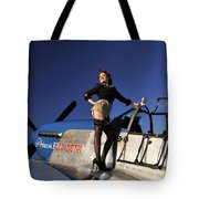 Pin-up Girl Standing On The Wing Tote Bag by Christian Kieffer
