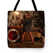 Pin Up Girl With Blow Torch Tote Bag