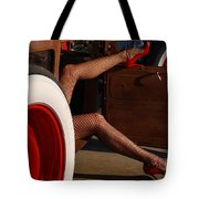 Pin Up Legs In Red Heels  Tote Bag