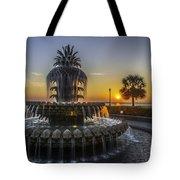 Pinapple Fountain Charleston Sc Sunrise Tote Bag