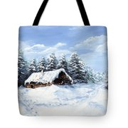 Pine Forest In Winter Tote Bag