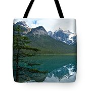 Pine Over Emerald Lake Reflection In Yoho National Park-british Columbia-canada Tote Bag