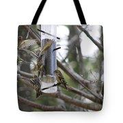 Pine Siskins In Flight Tote Bag