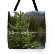 Pine Tree And Rain Drops Tote Bag