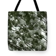 Pine Tree Branches Covered With Snow Tote Bag