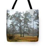 Pine Trees In Mist - Digital Paint 1 Tote Bag