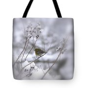 Pine Warbler In The Snow - Better Than Red Tote Bag