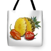 Pineapple And Habanero Peppers  Tote Bag