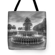 Pineapple Fountain In Black And White Tote Bag
