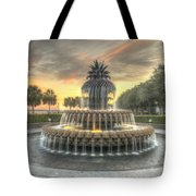 Pineapple Fountain Sunset Tote Bag