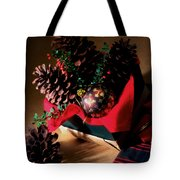Pinecones Christmasbox Painted Tote Bag