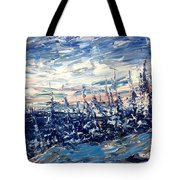 Pines In Winter Blues Abstract Tote Bag