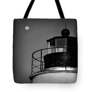 Piney Point Lighthouse And Moon In Black And White Tote Bag