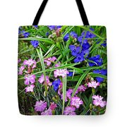 Pink And Blue Garden Tote Bag