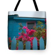 Pink And Blue House Tote Bag