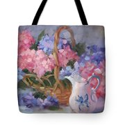 Pink And Blue Hydrangeas Tote Bag