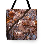 Pink And Leaves Tote Bag