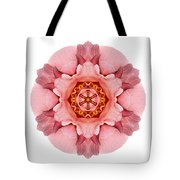 Pink And Orange Rose Iv Flower Mandala White Tote Bag