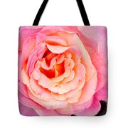 Pink And Peach Rose Flower Tote Bag