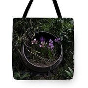 Pink And Purple Flowers In A Slanting Container Tote Bag