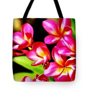 Pink And Red Plumeria Tote Bag